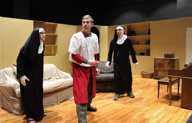 """The House of Blue Leaves"" takes place in 1965, when the pope came to New York City. Which may explain, in part, why two nuns (Kymber Pyeatt, left, and Hunter Harris and a guy in a cassock (Joshua Larum, who is AWOL from the Army) are in Artie Shaughnessy's apartment. Larum is Shaughnessy's son, Ronnie. It's the first Black Box Theatre show in the Wylie ISD's new Performing Arts Center."