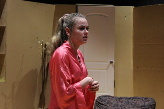 """Marley Gamble is Bananas, the self-described crazy wife of Artie, in Wylie High School's production of """"The House of Blue Leaves,"""" its first Black Box Theatre show."""