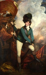 Lieutenant-Colonel Banastre Tarleton by Sir Joshua Reynolds. Sir Tarleton led the British Legion, Tarleton's Raiders, against Carolina colonists, massacreing surrendering soldiers at Waxhaw Creek, and then being routed at the Battle of Cowpens.