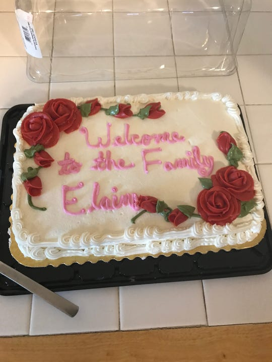 Petitclerc's father's side of the family welcomed her with a cake when they met in 2017.