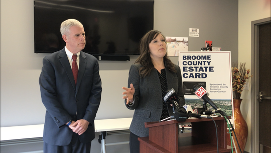 County Executive Jason Garnar and Greater Binghamton Chamber of Commerce President Jennifer Conway announce the launch of the Broome County Estate Card.