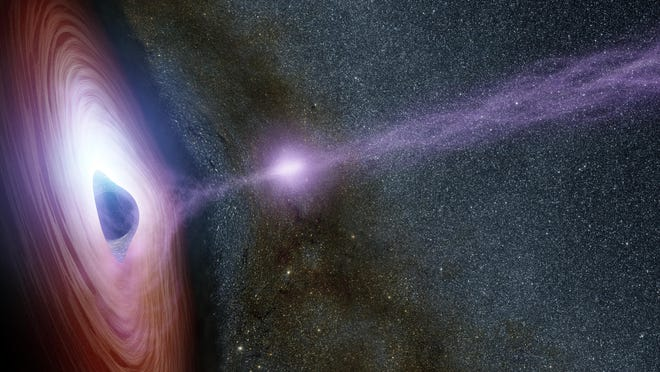 A rendering of the supermassive black hole in a distant galaxy called Markarian 335.