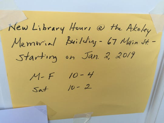 A sign on the door at 90 Pond St. in Stowe tells patrons where to find the temporary location of the town's library.