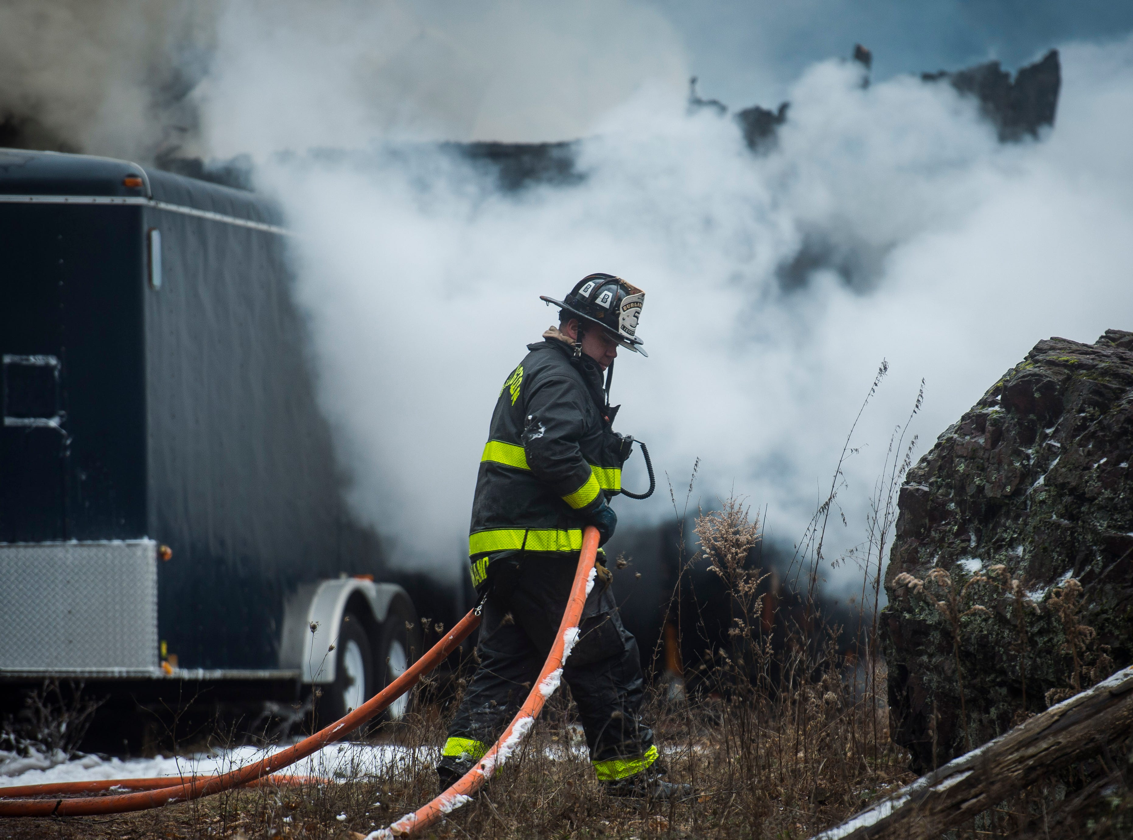 Shelburne firefighters, with mutual aid from Burlington, South Burlington and Charlotte, responded to a full-involved barn fire off Harbor Road in Shelburne Tuesday afternoon. The blaze engulfed more than half the structure by the time crews arrives and was a total loss.