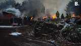Firefighters in Shelburne had to back away from a barn fire after ammunition started exploding on Tuesday, Jan. 8, 2019.