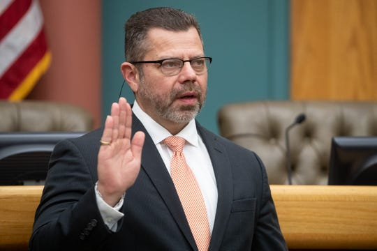 City Councilman Roland Barrera is sworn in at City Hall on Tuesday, Jan. 8, 2019.