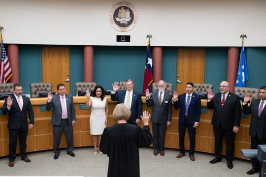 The Corpus Christi City Council and Mayor Joe McComb are sworn in at City Hall on Tuesday, Jan. 8, 2019.
