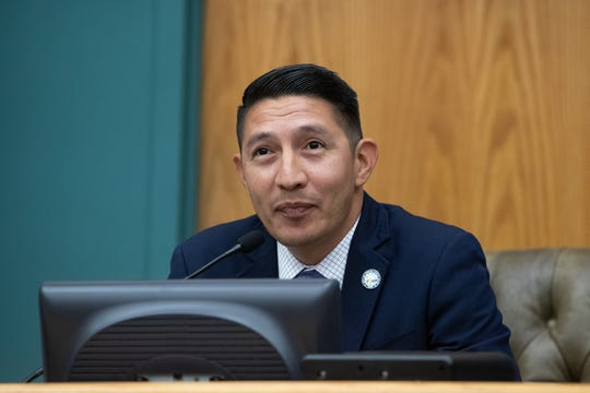 District 2 City Councilman Ben Molina speaks after being sworn in at City Hall on Tuesday, Jan. 8, 2019.