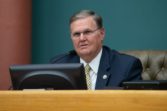 Corpus Christi Mayor Joe McComb speaks after being sworn in at City Hall on Tuesday, Jan. 8, 2019.