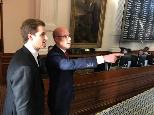 Incoming House Speaker Dennis Bonnen looks over the chamber before the start of the 2019 legislative session.