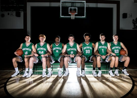 "Huntington High School basketball player Elijah McCloskey credits his fellow teammates' strong connection, support, and hard-work for letting him reach his goal of 1,000 points his senior year. ""I've always been a team guy, I always enjoyed playing with them because at the end of the day those are your brothers,"" McCloskey said. ""You compete with them every single day. I do it for them and [Huntington] Township.""(L-R) Junior Seth Beeler, senior Nate Snyder, senior Andrew Cox, senior Elijah McCloskey, senior Canaan Knoles, senior Dakota Kinzer, and senior Jonathon Fisher."