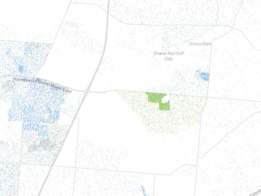 The Lebanon Correctional Institution as shown by the University of Virginia's Racial Dot Map.