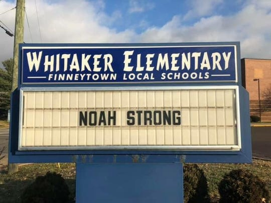 Whitaker Elementary School in Finneytown shows support for Noah Anderson, a student there. His father, Grant Anderson, is principal of the school.