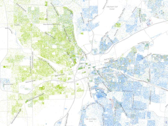 Dayton as shown by the University of Virginia's Racial Dot Map.