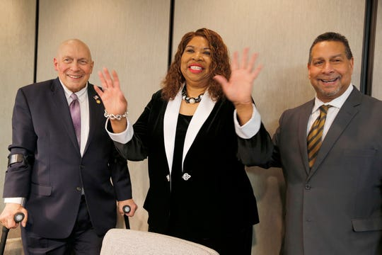 Hamilton County commissioners Todd Portune, Stephanie Summerow Dumas and Judge Ted Berry after Dumas was sworn in as a new Hamilton County Commissioner Tuesday, January 8, 2019. Dumas is the first African American Hamilton County Commissioner and the first African American female in the State of Ohio to become a County Commissioner.