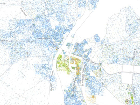 Hamilton as shown by the University of Virginia's Racial Dot Map.