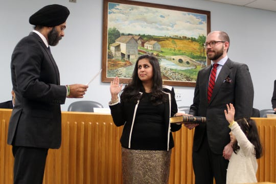 Sadaf Jaffer is sworn-in to become the mayor of Montgomery for 2019, as her husband and daughter look on. Her mayoral oath was administered by NJ State Attorney General Gurbir Grewal.