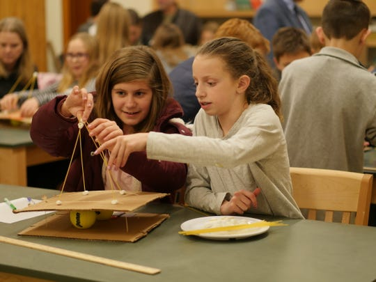 Pictured, left to right: Juliana Holmes of Pottersville and Abby Donofrio of Califon at a science workshop at Willow