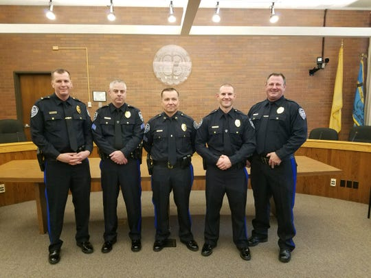 Five officers were recently promoted in the South Brunswick Police Department. The newly promoted officers are Capt. Ron Seaman, Lt. Roger Tuohy, Lt. Jeffrey Russo, Sgt. Eric Tighelaar and Sgt. Dennis Yuhasz