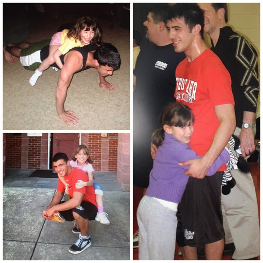 Anthony Raspa with his younger sister Tina during his days as a Bishop Ahr High School wrestler.