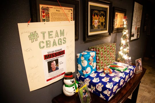 Christmas presents for Chris Bagley sit unopened at Stewart and Christine Bagley's Independence home Monday, Jan. 7, 2019. Chris has been missing since Dec. 14, 2018.