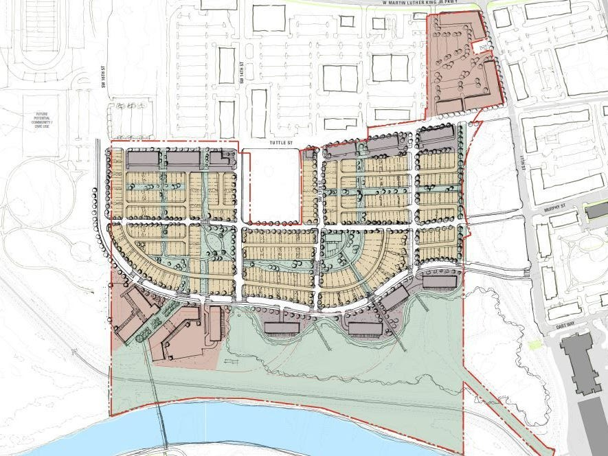 A master plan depicting Hubbell Realty Co.'s new 75-acre neighborhood, Gray's Station.