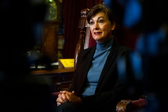 Iowa Governor Kim Reynolds talks about the upcoming legislative session during an interview with the Des Moines Register, on Tuesday, Jan. 8, 2019, at the Iowa State Capitol.