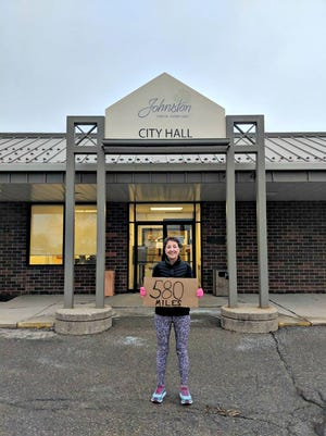 Johnston Mayor Paula Dierenfeld will run 580 miles by March 17, 2019 as part of the Mayor's Run for Food challenge. She said she will run 1 miles for ever bag of food or $10 donated in December to the Johnston Partnership food pantry.