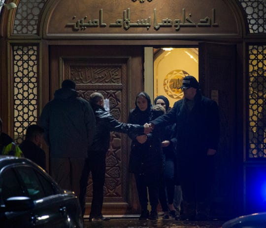 Community members, friends, and family participate in visitation services at the Islamic Center of America in Dearborn Monday Jan. 7, 2019 after Issam Abbas, 42, Rima Abbas, 38, Ali Abbas, 14, Isabelle Abbas, 13, and Giselle Abbas, 7, were killed in a car crash Sunday Jan. 6, 2019 in Kentucky on their way home from Florida.