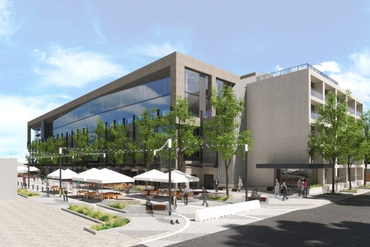 """The dot"" mixed-use parking structure is to bring retail and possibly office space to downtown Ferndale at Allen Road and West Troy Street. The rendering was designed by Ferndale-based architecture firm Fusco, Shaffer, & Pappas."