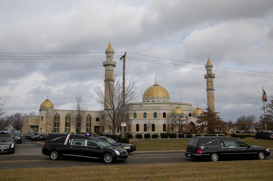 Five hearses are seen leaving after services for Issam Abbas, 42, Rima Abbas, 38, Ali Abbas, 14, Isabelle Abbas, 13, and Giselle Abbas, 7,  at the Islamic Center of America in Dearborn Tuesday Jan. 8, 2019. The Abbas family was killed in a car crash on Sunday Jan. 6, 2019 in Kentucky on their way home from Florida.