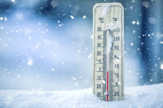 Thermometer On Snow Shows Low Temperatures Zero Low Temperatures In Degrees Celsius And Fahrenheit Cold Winter Weather Zero Celsius Thirty Two Farenheit