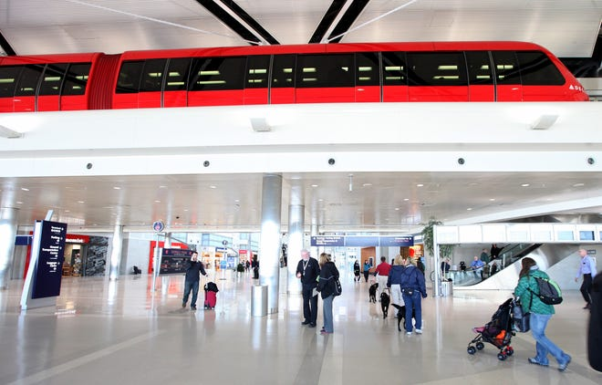 The trams at Detroit Metro Airport McNamara terminal are shown in this file photo.