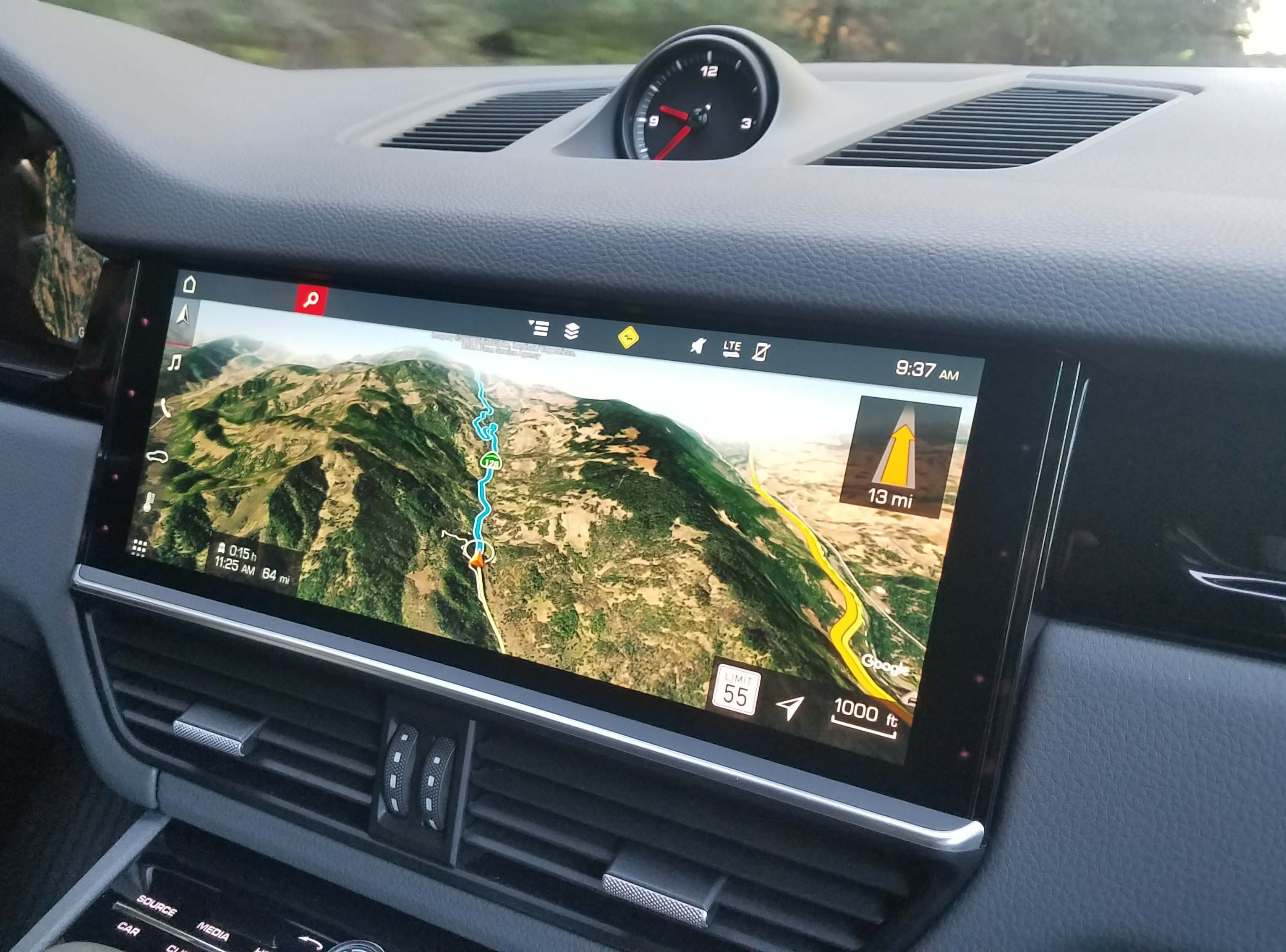 The 2019 Cayenne features a huge, 12.3-inch infotainment display with exquisite, high-definition graphics for Google Earth-detailed nav displays.
