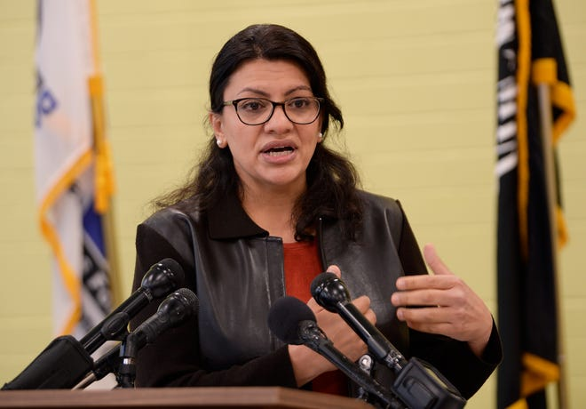 U.S.Rep. Rashida Tlaib discusses the government shutdown during a press conference Tuesday in Detroit.