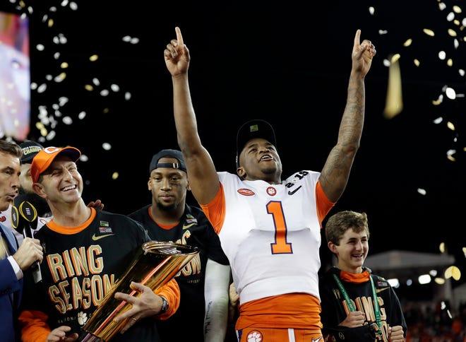 Clemson's Trayvon Mullen celebrates after the NCAA college football playoff championship game against Alabama. Clemson beat Alabama 44-16.