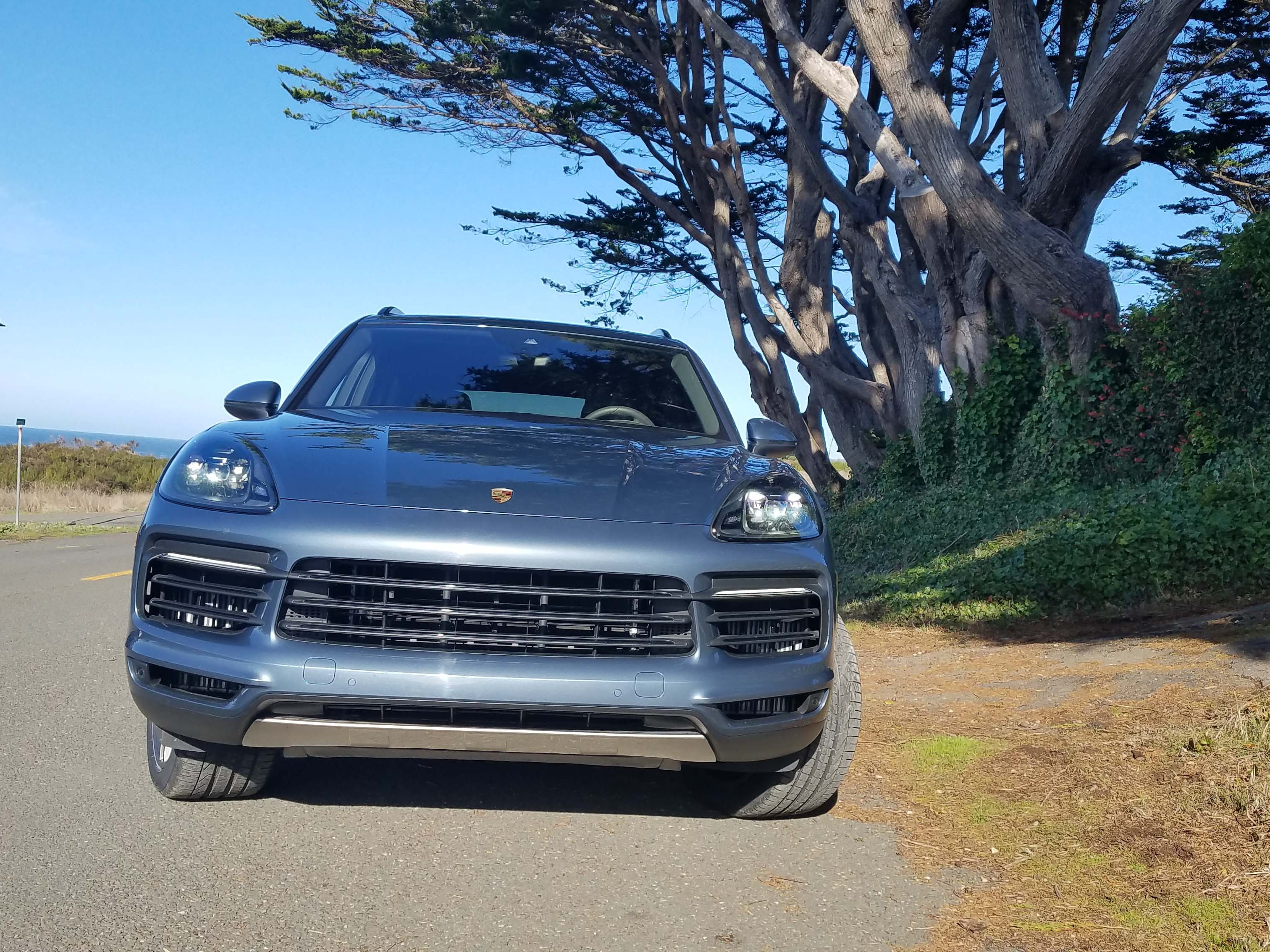 Just breathe. The 2019 Porsche Cayenne features big intakes to feed its hungry, turbocharged engine.