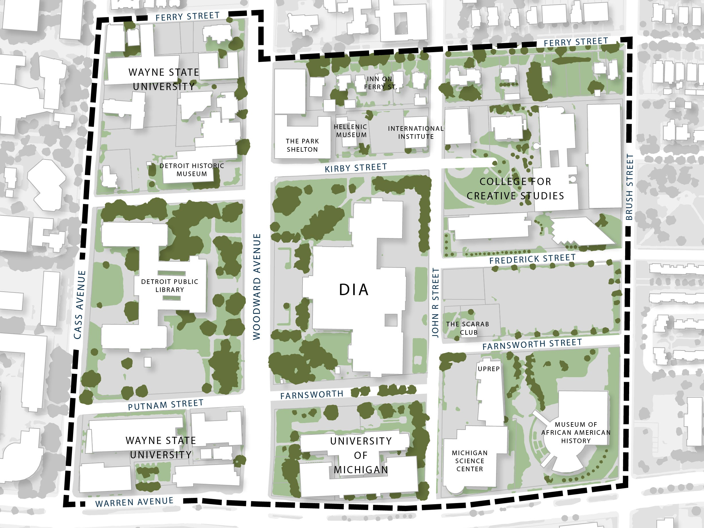 This map shows the boundaries of the proposed DIA Plaza/Midtown Cultural Connections plan and indicates the participating institutions.