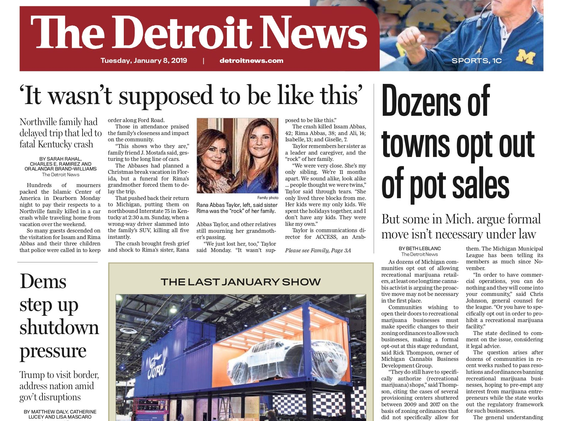 The front page of the Detroit News on January 8, 2019.