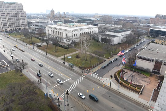 The Detroit Public Library and Detroit Historical Museum along Woodward in Detroit, shown on Jan. 8, 2019, will soon be connected by pedestrian spaces in a cultural campus.
