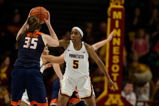 Minnesota forward Taiye Bello (5), a Southfield-Lathrup product, is fourth in the country in rebounding at 12.9 per game.