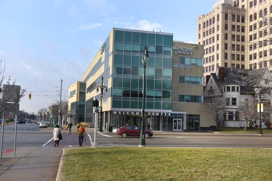 The Wayne State University campus at Woodward and Warren avenues.