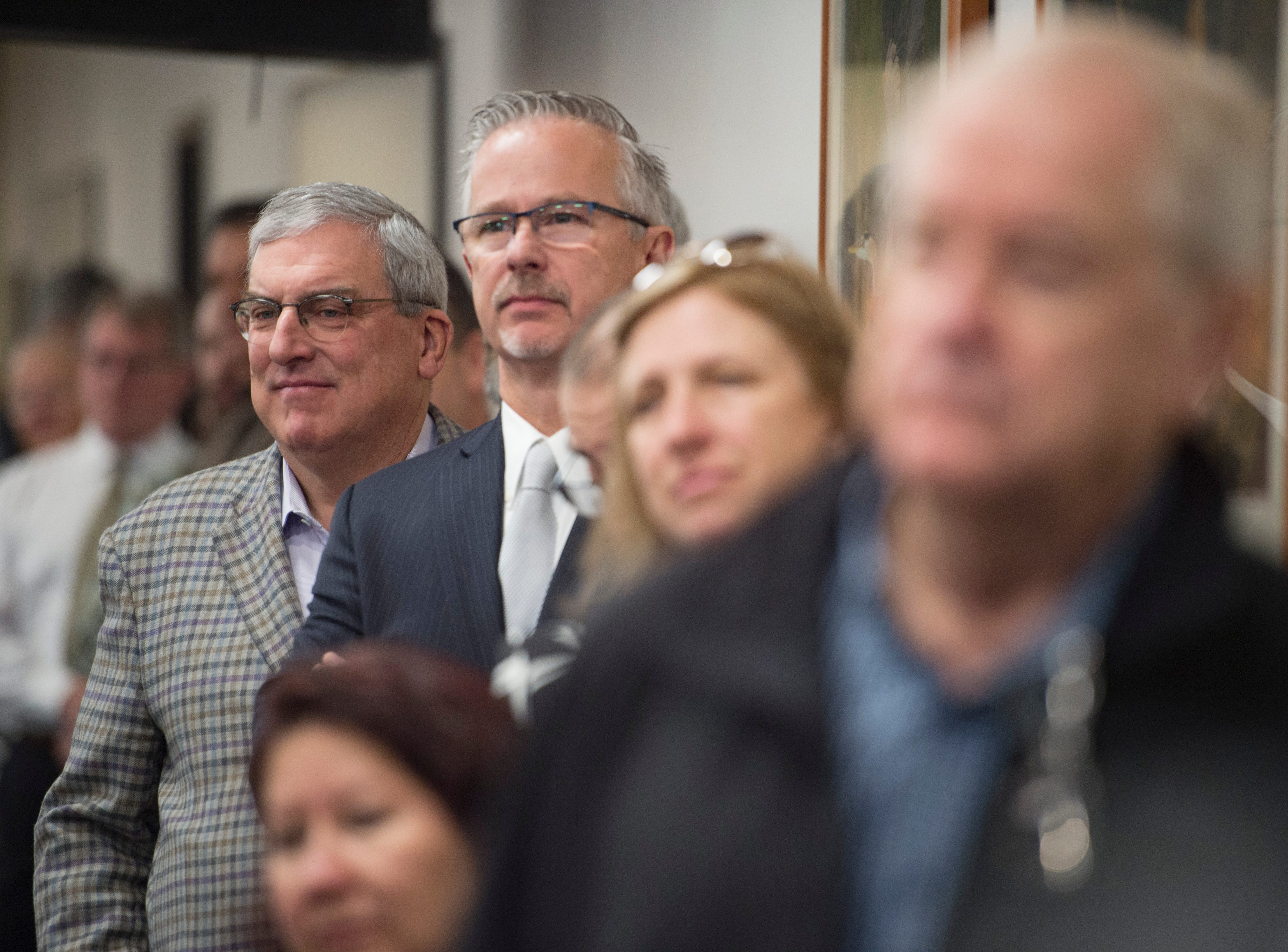 Fort Collins Mayor Wade Troxell watches as elected officials are sworn in at the Larimer County Courthouse on Tuesday, January 8, 2019.