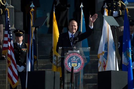 Governor Jared Polis gives his inaugural address on Tuesday, Jan. 8, 2019, in front of the Colorado State Capital building in Denver, Colo.
