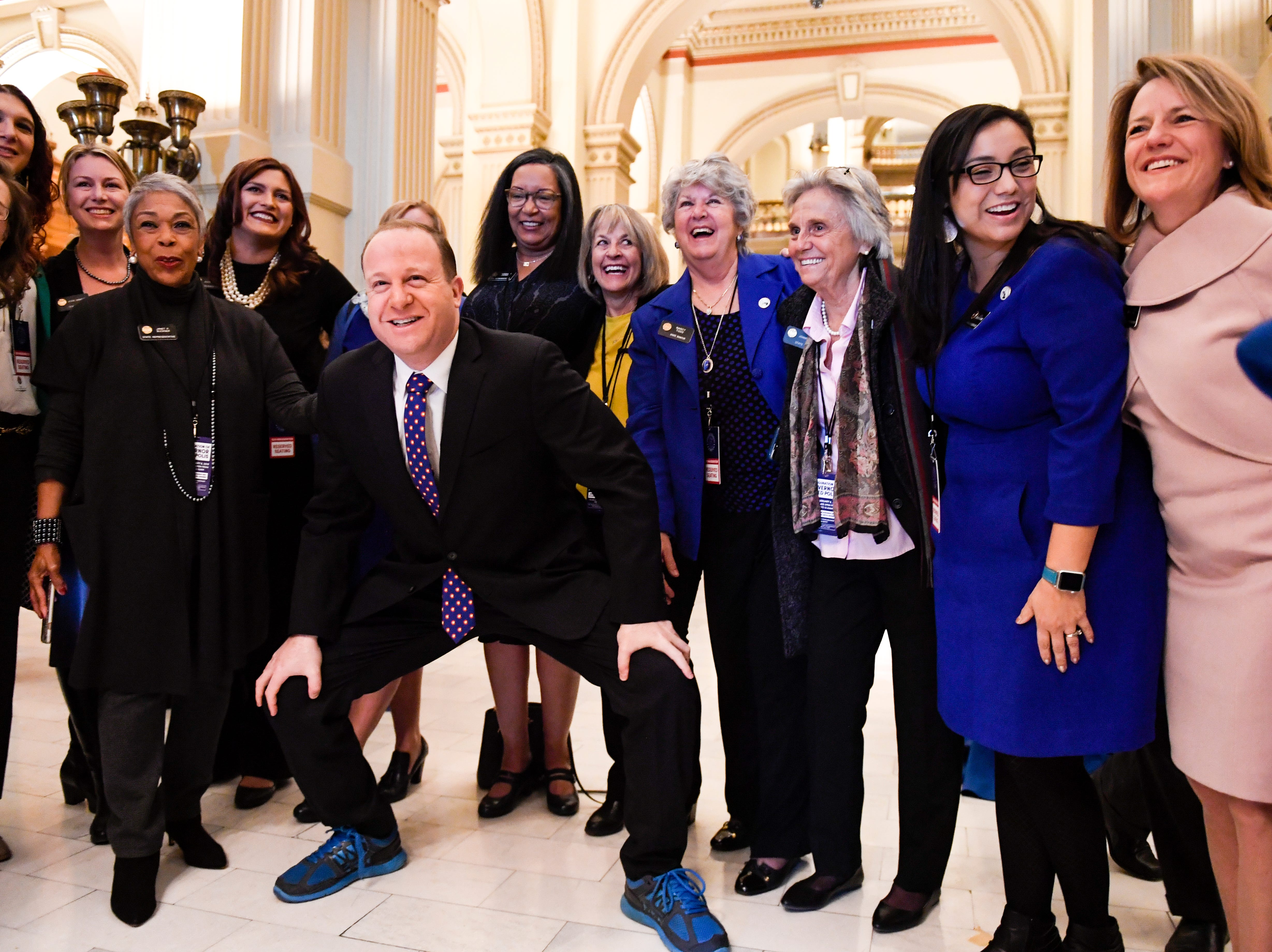 DENVER, CO - JANUARY 8: Colorado Governor elect Jared Polis stands with members of the state house and senate for a photo op before his inauguration at the Colorado State Capitol on Tuesday, January 8, 2019. (Photo by AAron Ontiveroz/The Denver Post/Pool)