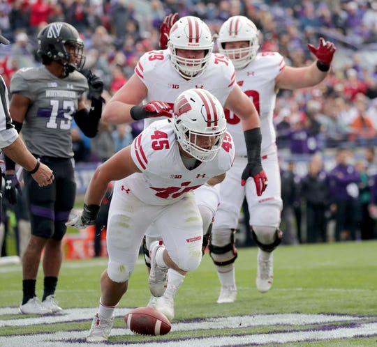 Wisconsin fullback Alec Ingold (45) scores a touchdown in the first half against Northwestern in October.