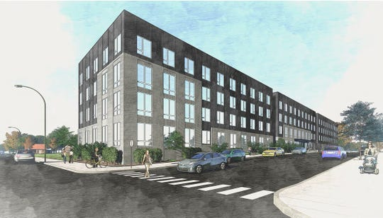 An updated rendering of the Broadway Lofts building as seen from North Broadway, facing northeast.