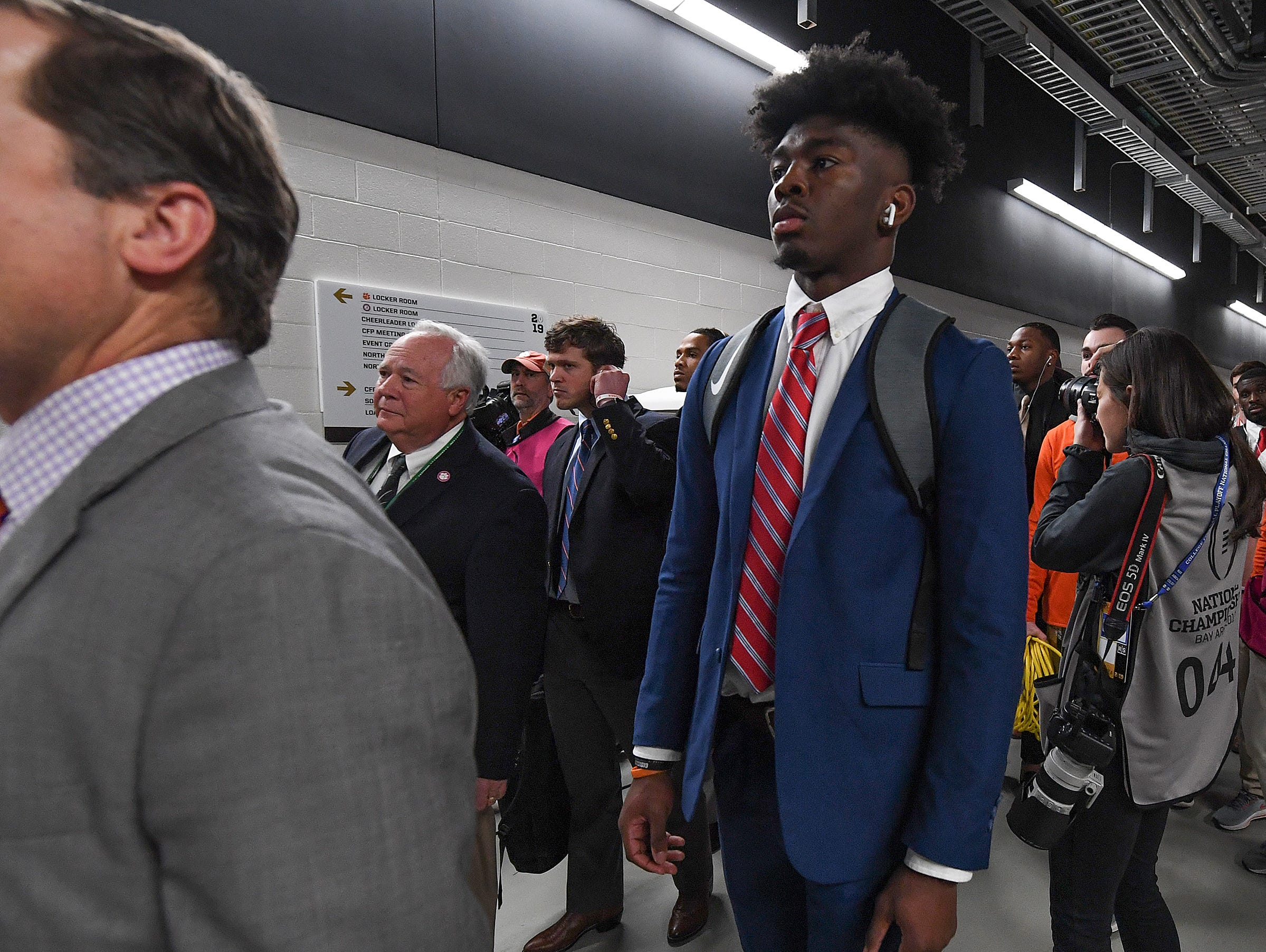 Clemson wide receiver Justyn Ross arrives at Levi's Stadium in Santa Clara, CA Monday, January 7, 2019 for the Tiger's game against Alabama in the College Football National Championship.