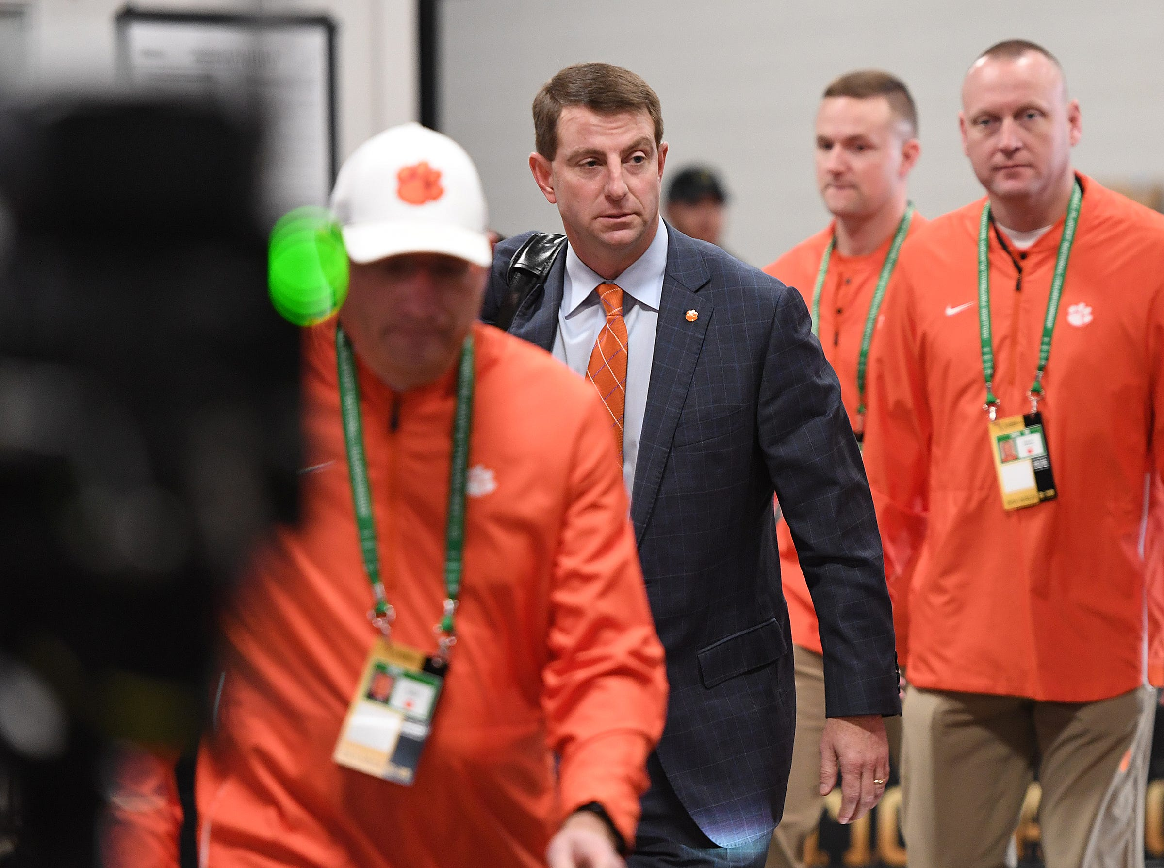 Clemson head coach Dabo Swinney arrives at Levi's Stadium in Santa Clara, CA Monday, January 7, 2019 for the Tiger's game against Alabama in the College Football National Championship.