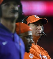 Clemson head coach Dabo Swinney during the 1st quarter of the College Football National Championship at Levi's Stadium in Santa Clara, CA Monday, January 7, 2019.